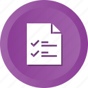 list, check, mark, file, document, page icon
