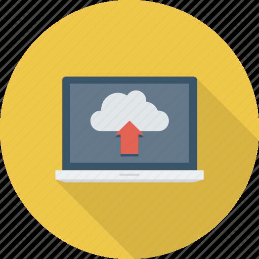 cloud, data, laptop, transfer, transmission, upload icon