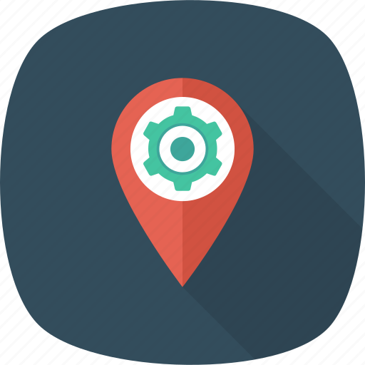 Map, gps, location, pin, cog icon
