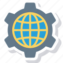 browser, cog, globe, internet, setting, wheel, world icon