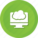 cloud, computer, monitor, screen icon