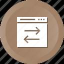 cog, preferences, receive, send, setting, web icon