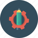 customize, edit, gear, notes, pencil, settings, text icon icon