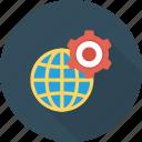 cog, cogwheel, global, globe, internet, setting