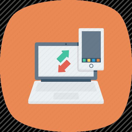 data, downalod, mobile, phone, transfer icon