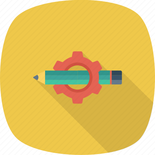 Pencil, gear, settings, customize, notes, edit icon