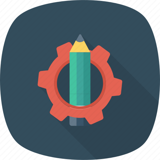 customize, edit, gear, notes, pencil, settings, text icon