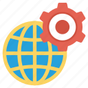 cog, cogwheel, global, globe, internet, setting icon