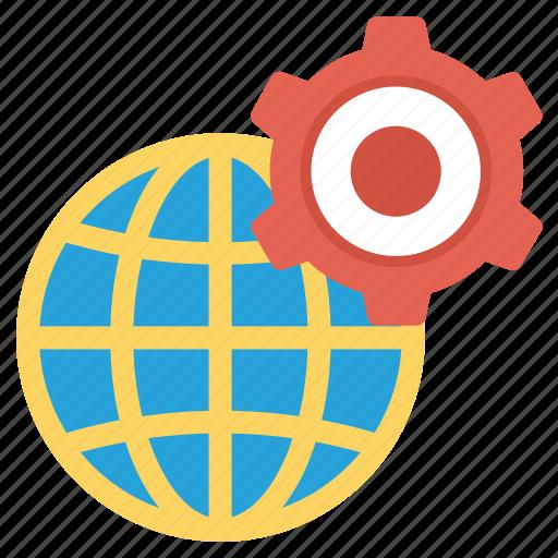 cog, cogwheel, global, globe, internet, setting icon