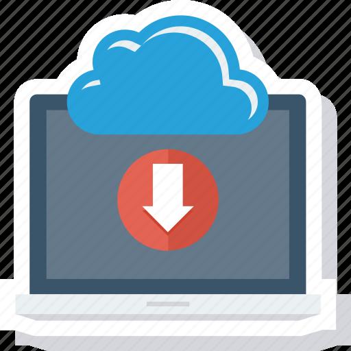 cloud, communication, computer, download, laptop, technology icon