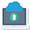 cloud, communication, computer, laptop, technology, upload icon