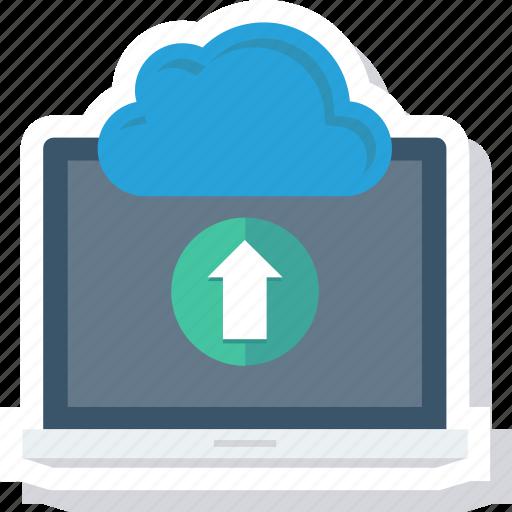 cloud, communication, computer, laptop, technology, upload icon