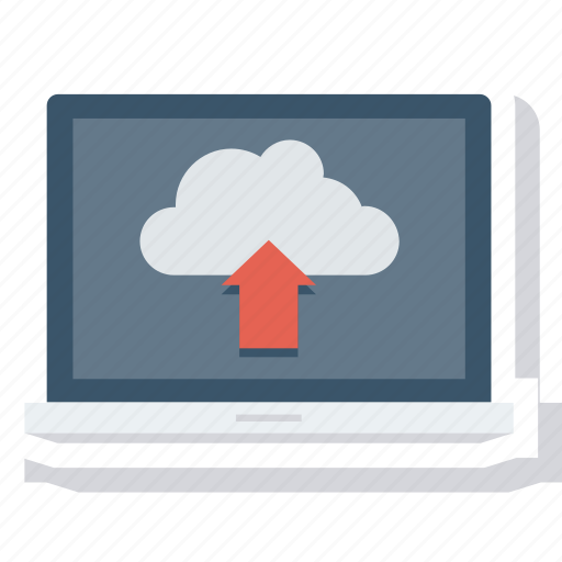 cloud, data, laptop, transfer, transmission, upload icon