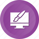 brush, design, graphic, illustration, monitor, pen icon