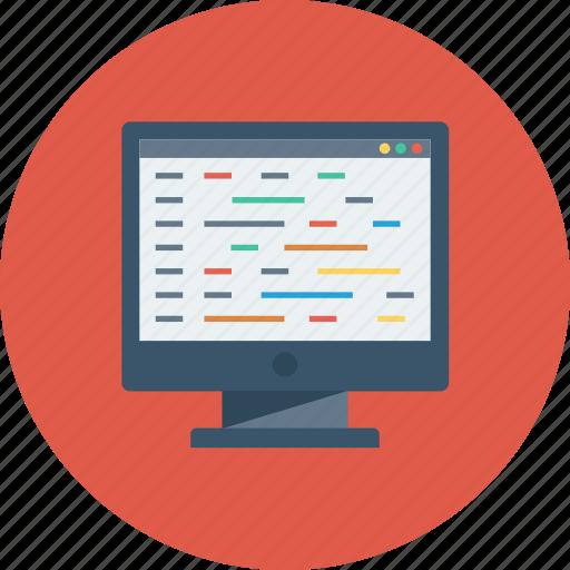 code, coding, developer, development, editor, html, monitor icon icon