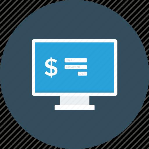 bank login, monitor, online banking, safe banking, secure banking icon icon