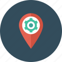 cog, gps, location pin, location setting, map setting icon icon