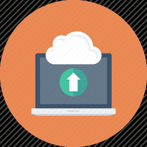 cloud, communication, computer, laptop, technology, upload icon icon