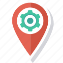 cog, gps, location, map, pin icon