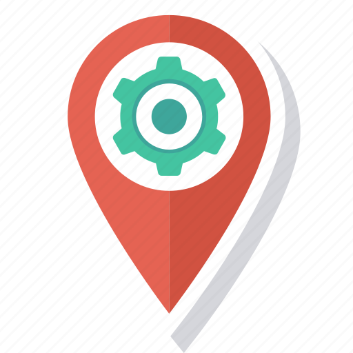 cog, gps, location, map, pin icon