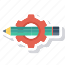 customize, edit, gear, notes, pencil, settings icon