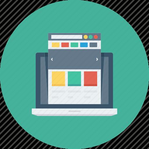 internet, laptop, layout, presentation, web, webpage, website icon icon