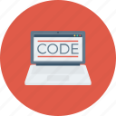 code, coding, development, laptop, programming icon icon
