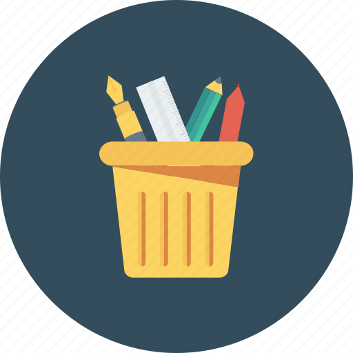 pen box, pencil container, pencil holder, pencil jar, stationery icon icon icon