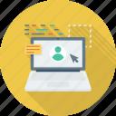 laptop, online, profile, user