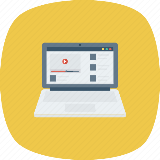 Laptop, online, play, playlist, videos icon - Download on Iconfinder