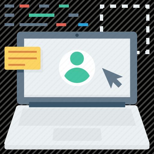 laptop, online, profile, user icon