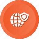 globe, secure, security, shield, technology, world icon
