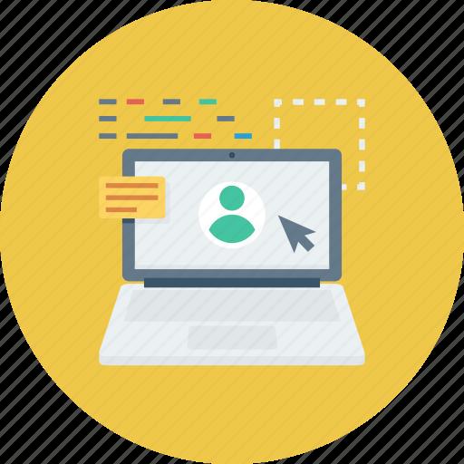 laptop, online, profile, user icon icon