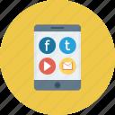 mobile, mobile app, mobile menu, mobile ui, social app icon icon