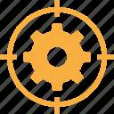 aim, bullseye, gear, goal, objective, snipe, sniper icon