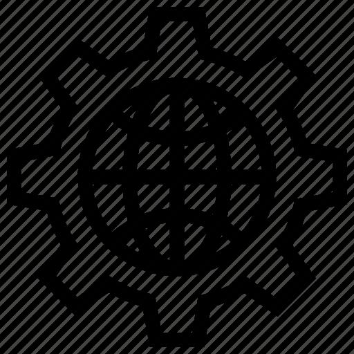 Cogwheel, gear, globe gear, setting icon, • cog icon - Download on Iconfinder