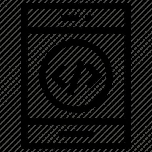 mobile, mobile code, mobile coding, mobile phone, phone framework icon, • code icon