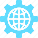 cog, cogwheel, gear, globe, ico, setting icon
