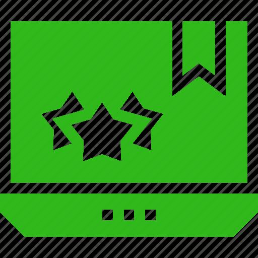 laptop, online, stars, three, web icon