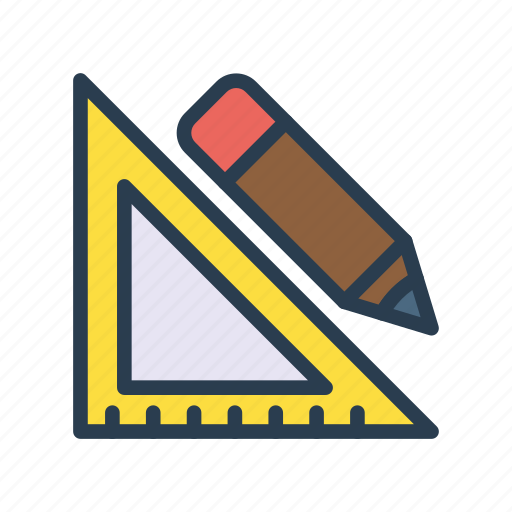 design, edit, geometry, pencil, protractor icon