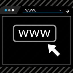 arrow, click, page, web icon