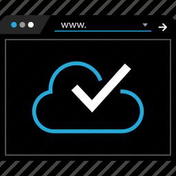 check, cloud, data, mark icon