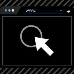 arrow, click, point, www icon
