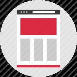browser, columns, online, website icon