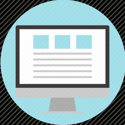 blog, gallery, list, monitor, online, website icon