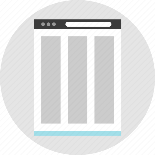 columns, frame, layout, net, pc, three, website icon