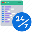 coding, twenty, four, seven, all icon
