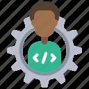 developer, management, avatar, person, user, man, cog icon