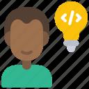 developer, solutions, avatar, person, user, man, ideas icon