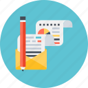 branding, envelope, letter, multimedia, pencil icon